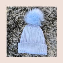 Blue Ribbed Fur Pom Pom Hat